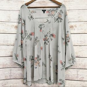 Torrid Silver Tunic Top With Flowers Tie Back 4X